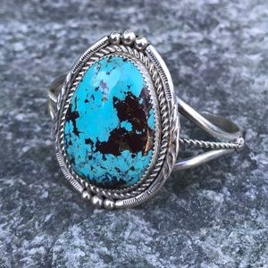 Signed Navajo Turquoise & Sterling Cuff Bracelet